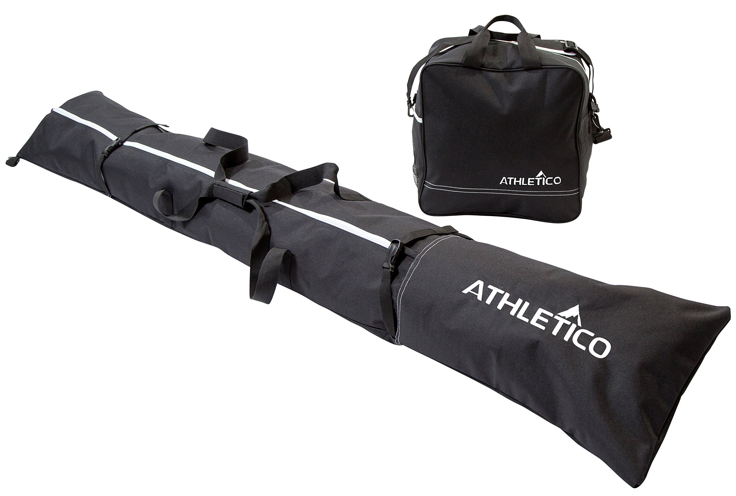 Athletico Two Piece Ski and Boot Bag Combo | Store & Transport Skis Up to 200 cm and Boots Up to Size 13 | Includes 1 Ski Bag & 1 Ski Boot Bag (Black) (Black with White Trim)