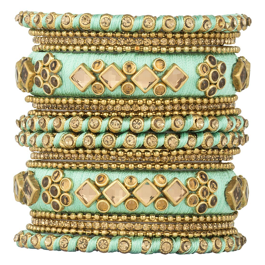 Peora Ethnic Beautiful Handmade Silk Thread Stone Studded Matching Bangle Chuda Set Fashion Jewellery for Women Girls, Size - 2.6 (B07QX8G4Q7) Amazon Price History, Amazon Price Tracker