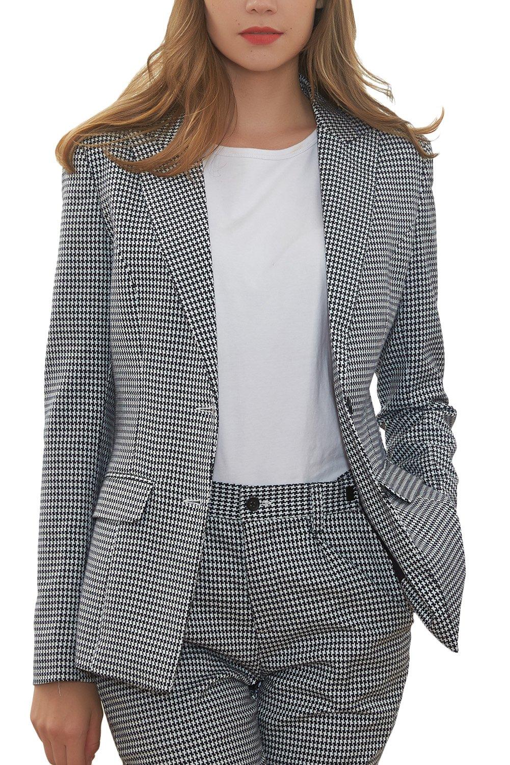 Hanayome Women's Blazer Business 2-Piece Suit Formal Office Suit & Trousers Sets MI2 (Grey, 16W)