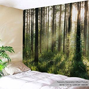 """XINYI Home Wall Hanging Nature Art Polyester Fabric Tree Theme Tapestry, Wall Decor for Dorm Room, Bedroom, Living Room, Nail Included - 90"""" W x 71"""" L (230cmx180cm) - Sunlight Forest"""