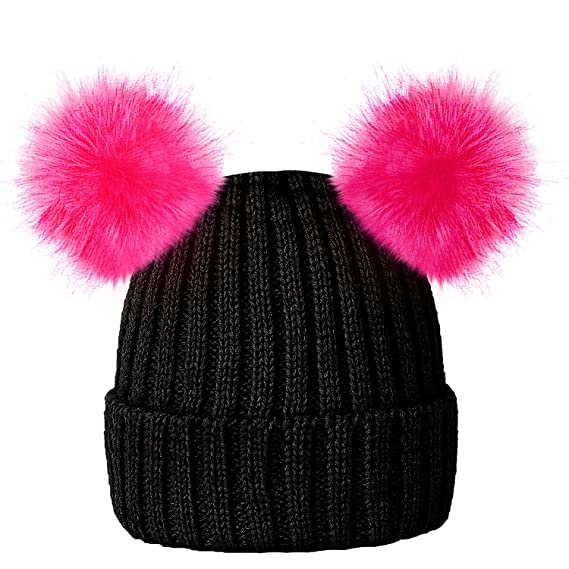 a22ced93b3e RockJock Kids Girls Colourful Warm Winter Knitted Beanie Hat with Twin Faux  Fur Pom One Size  Age 3-12yrs  Amazon.in  Clothing   Accessories