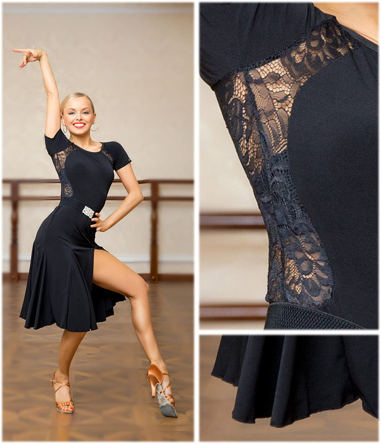 SCGGINTTANZ G1007 latin ballroom dance professional loose version swing design daily practice dress Note: contains a simple belt