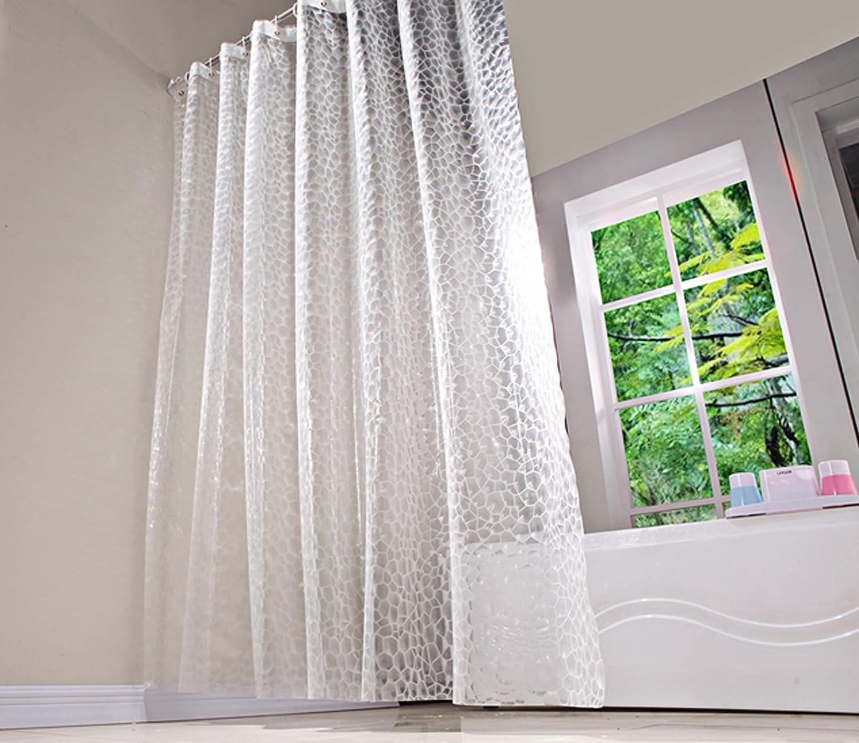 BSTT Tende da doccia antimuffa impermeabile 3D Water Cube Tenda decorativa doccia per vasca da bagno per casa e hotel bianco 180 x 180 cm