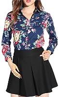 Dioufond Camisa de Mujer Manga Larga de Algodón Flores Patrón Botón Abajo Blusa Delgada con Cuello Vuelto y Puño Gemelos Top de Mujer - Trabajo/Verano