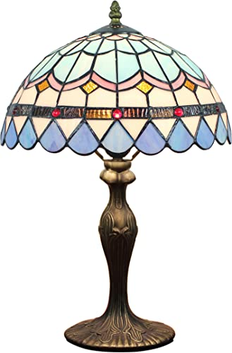 12-Inch European Pastoral Style Stained Glass Mediterranean Series Feather Tiffany Table Lamp