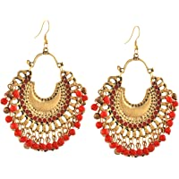Zephyrr Jewellery German Silver Beaded Chandbali Hook Earrings for Women and Girls in 9 colors