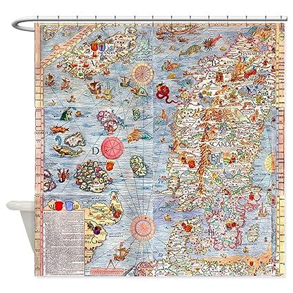 Amazon CafePress Carta Marina Sea Monster Map Decorative Fabric