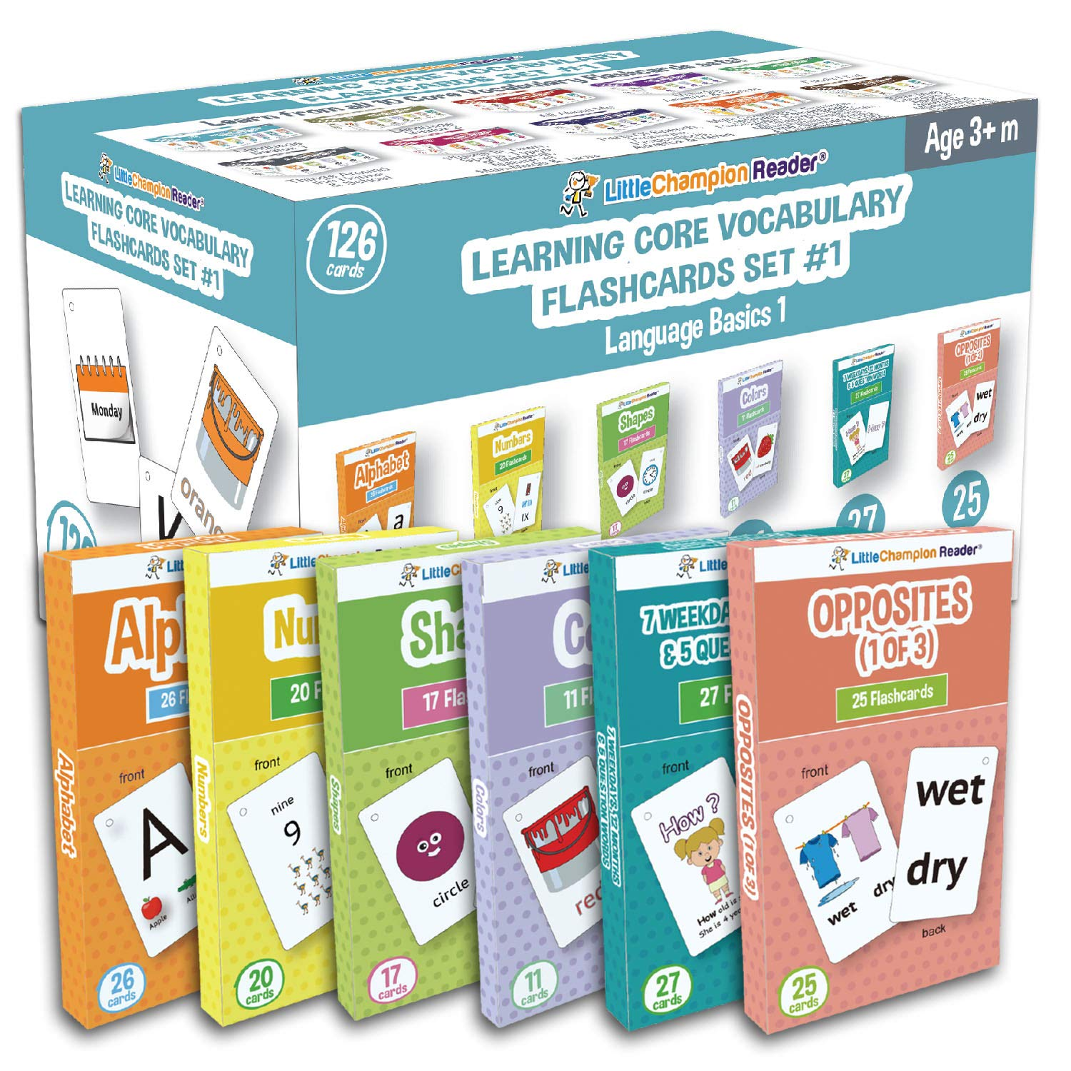 Set 1 Flash Cards for Toddlers - 126 ABC Alphabet, Numbers, Colors, Shapes, Week Days, Months of The Year, Question Words & Opposites Flash Cards - Learning for Baby Toddler Preschool Kindergarten by Little Champion Reader