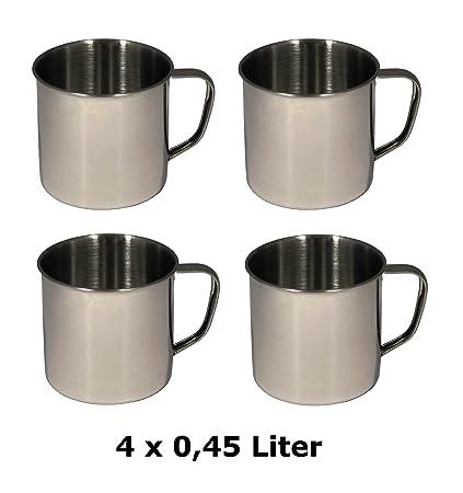 4 x Vaso metal de acero inoxidable taza Camping 0,45 litros ...