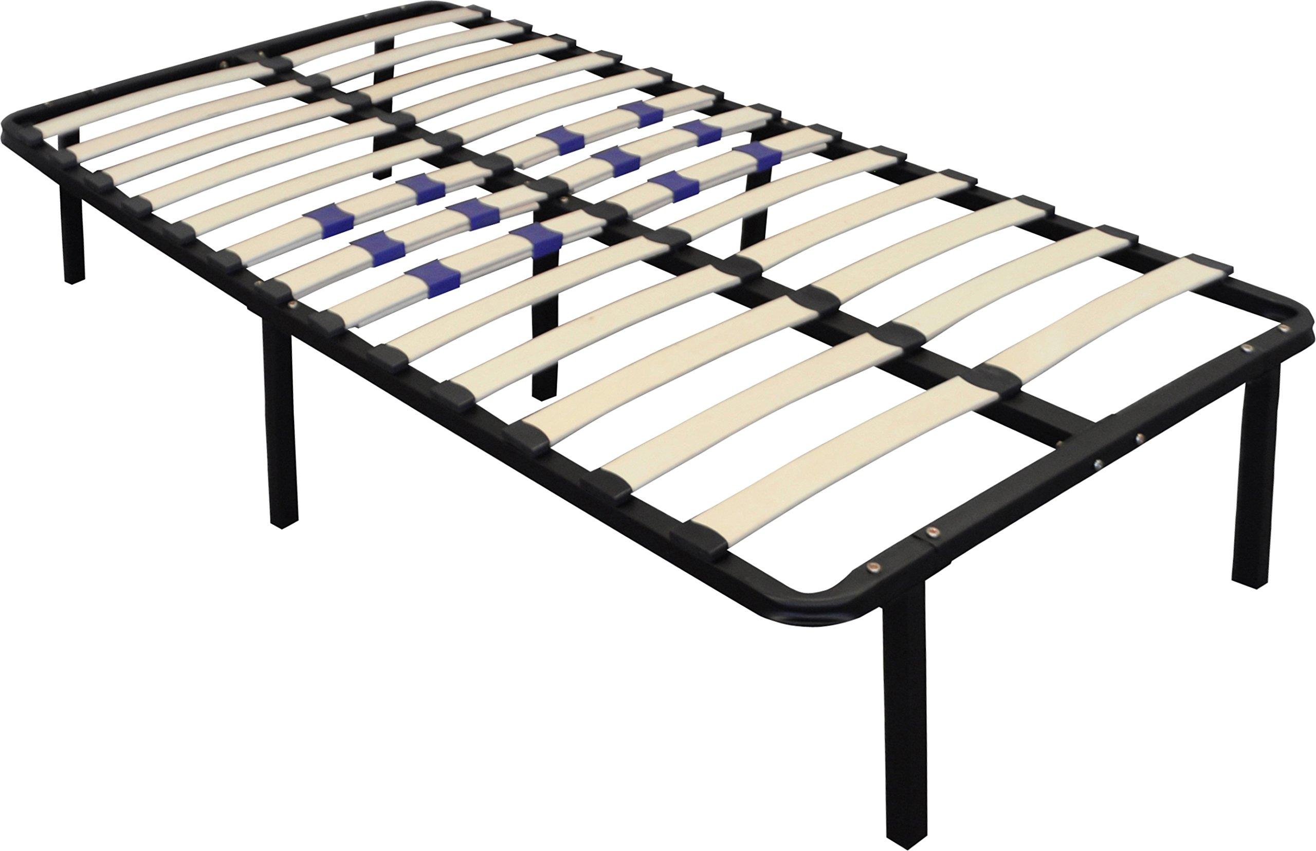 Flex Form Finnish Platform Bed Frame/Metal Mattress Foundation Adjustable Hardwood Slats, Black, Twin