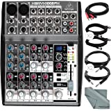 Behringer XENYX 1002FX 10-Channel Audio Mixer with Effects Processor and Accessory Bundle w/ Cables + Fibertique Cloth