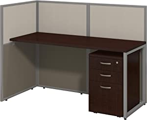 Bush Business Furniture Easy Office Cubicle Desk with File Cabinet and Open Panels Workstation, 60W x 45H, Mocha Cherry Satin