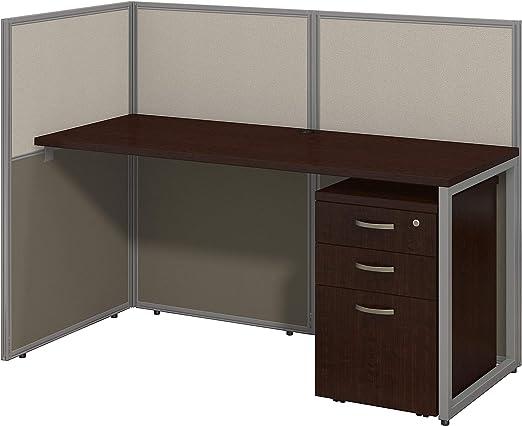 Bush Business Furniture Easy Office 60W Straight Desk Open Office in Mocha Cherry