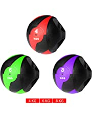 Meteor Dual Handle Commercial Rubber Medicine Exercise Balls Ball Workout Gym Fitness Squat Weight Lifting 4,6,8 kg