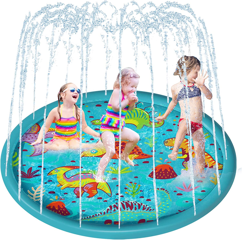 IBASETOY PVC Splash Play Mat Water Playing Toy Sprinkler Water Spray Pad Outdoor