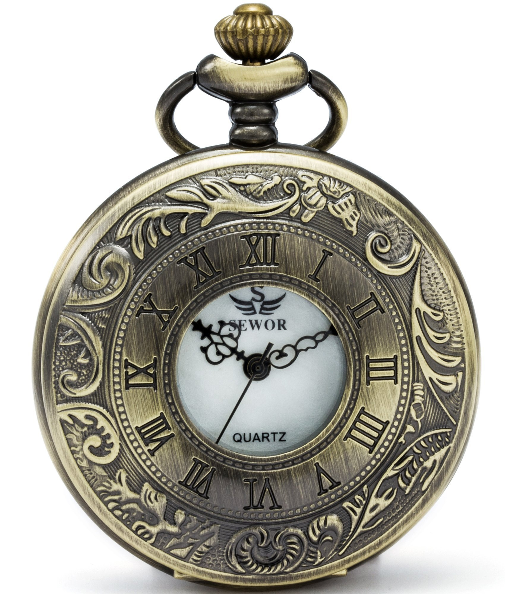 SEWOR Hollow Vintage Quartz Pocket Watch Shell Dial With Two Type Chain(Leather+Metal) (Bronze)