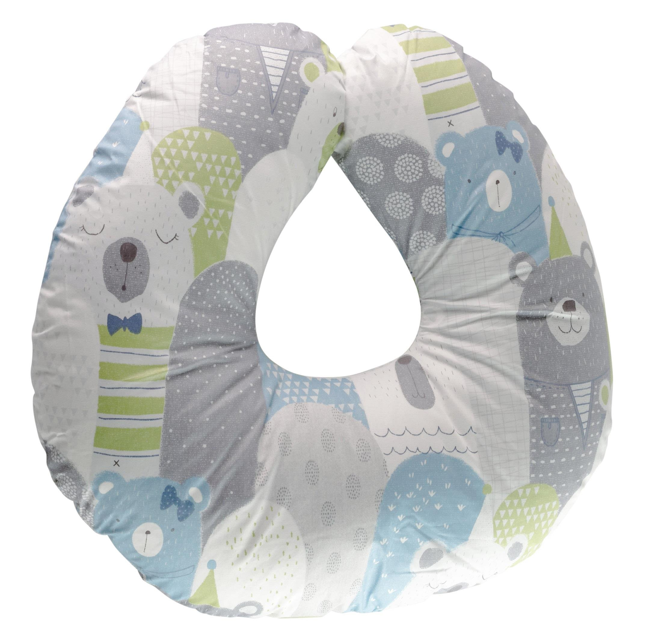 Extra-Soft Breastfeeding Baby Support Pillow w/100% Hypoallergenic Removable Bamboo Cover&Slipcover | Antibacterial Newborn Infant Feeding Cushion | Portable for Travel | Nursing Pillow for Boys&Girls