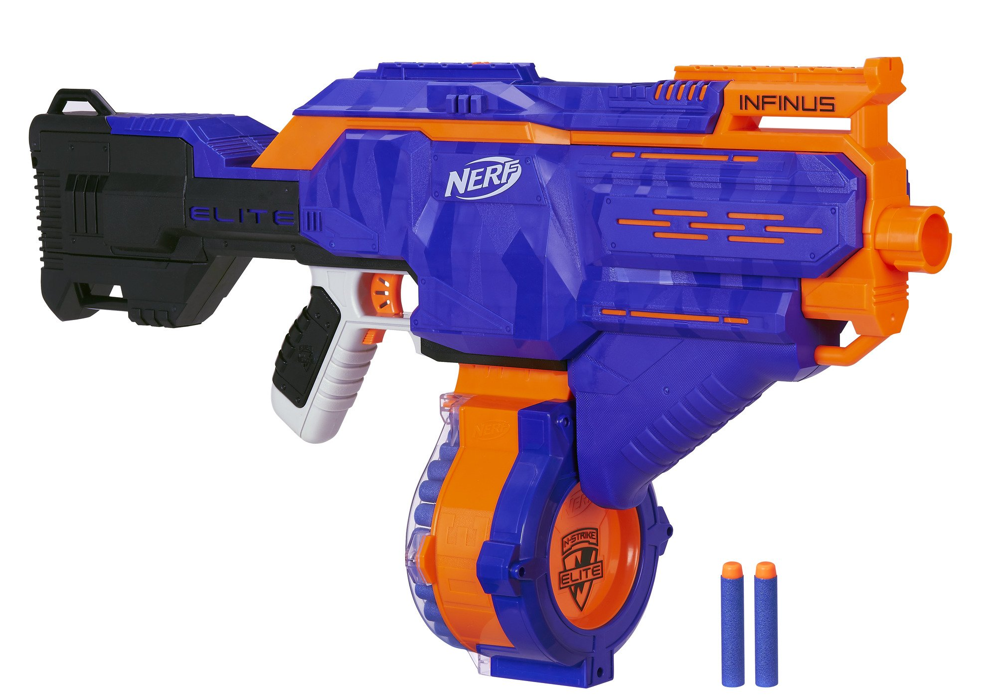 Infinus Nerf N-Strike Elite Toy Motorized Blaster with Speed-Load Technology, 30-Dart Drum, and 30 Official Nerf Elite Darts for Kids, Teens, and Adults by NERF
