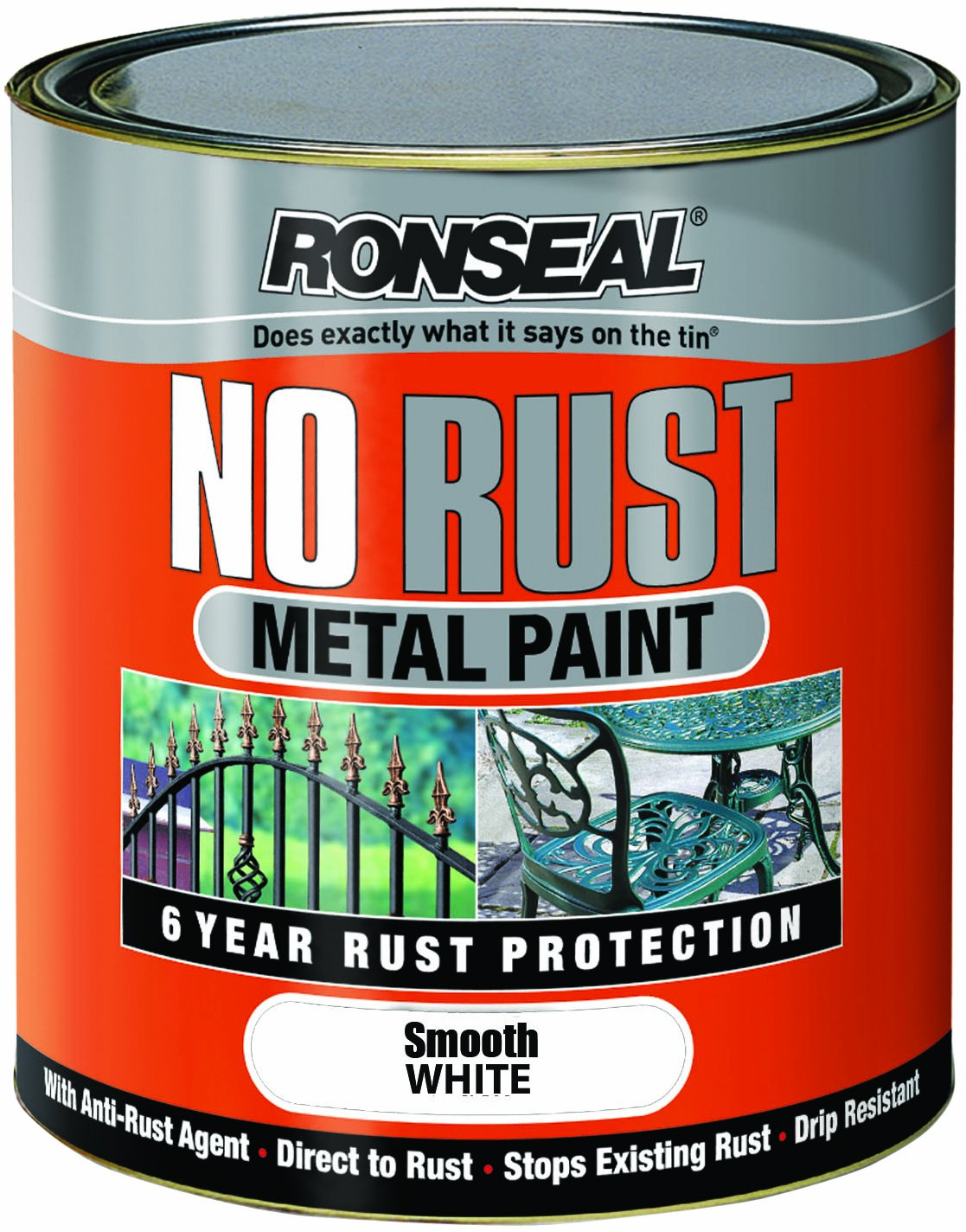 Ronseal NRSMBL250 250ml No Rust Metal Paint - Smooth Black 6884536-HHW