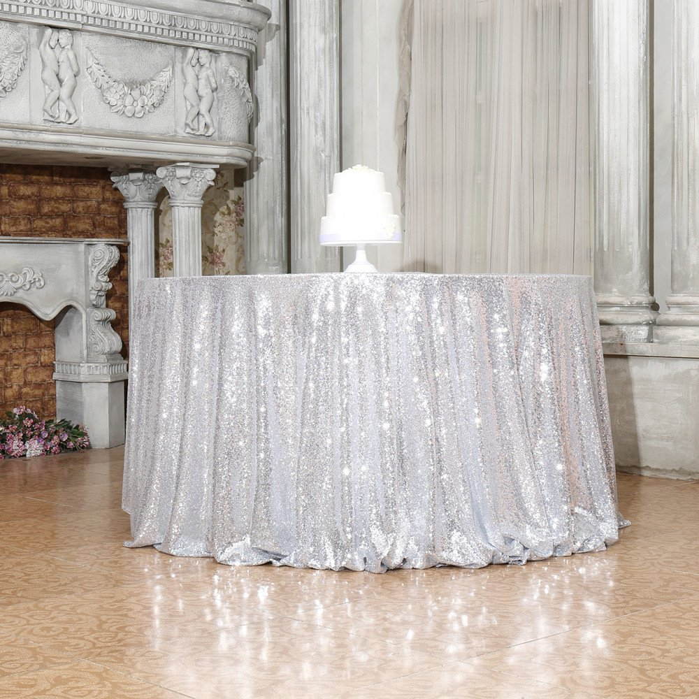 "PartyDelight Sequin Tablecloth, Round, 70"", Silver ..."