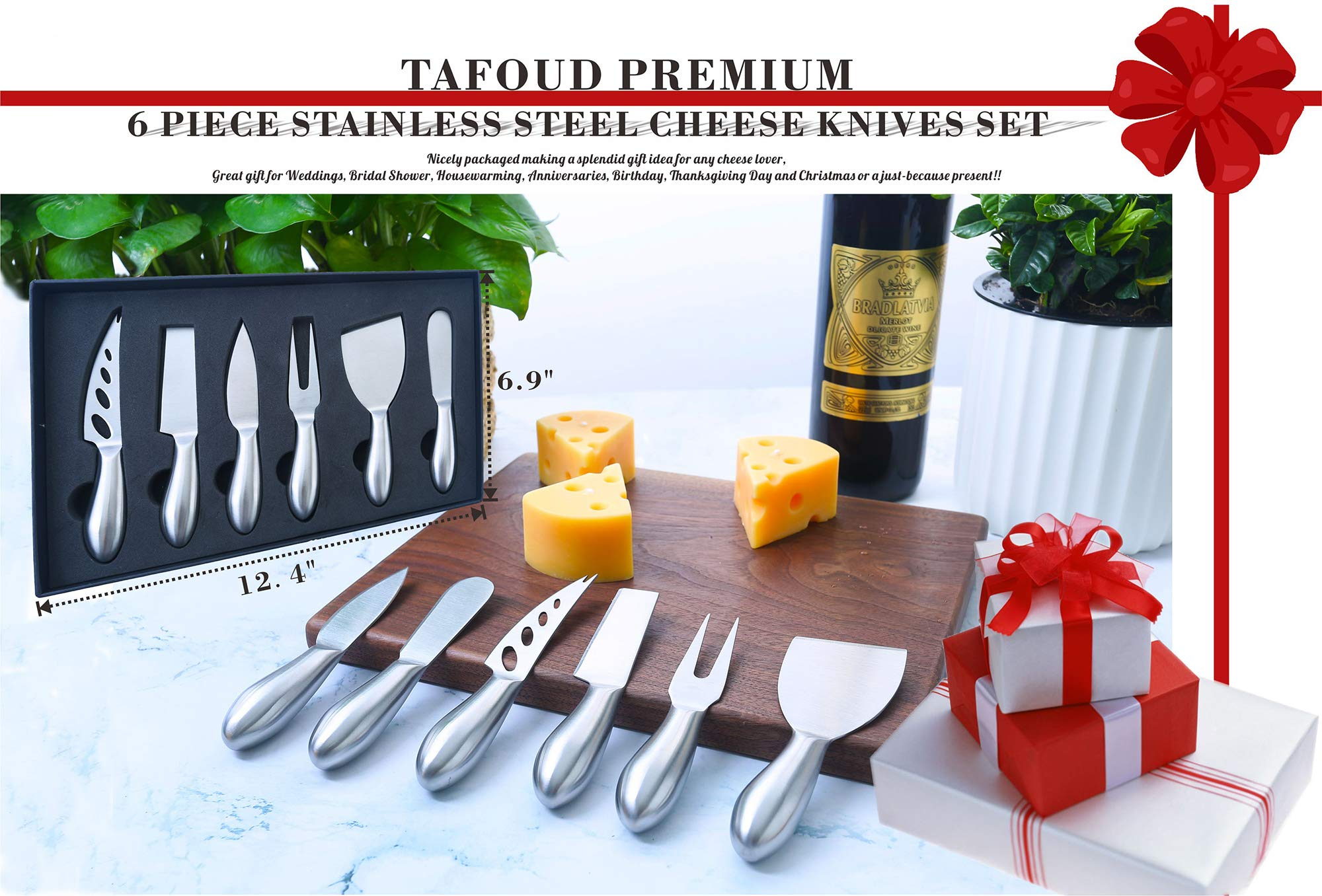 Tafond Premium 6 Piece Stainless Steel Cheese knives Set with Gift Box Nice Weight and Density Cheese Serving Knives Perfect Gifts for Christmas Birthday Party Wedding Anniversary