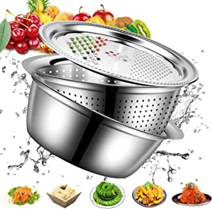 3 in 1 Stainless Steel Drain Basket Vegetable Cutter Cheese Grater Upgrade 11 Inch Multipurpose Julienne Grater Vegetable Fruit Rice Food Washing Bowl Strainer Set Salad Maker Bowl
