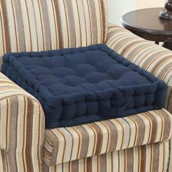 Homescapes Navy Blue Supportive Armchair Booster Cushion With