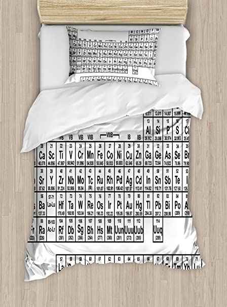 Amazon ambesonne periodic table duvet cover set twin size ambesonne periodic table duvet cover set twin size monochrome simple science chemistry elements for students urtaz Gallery