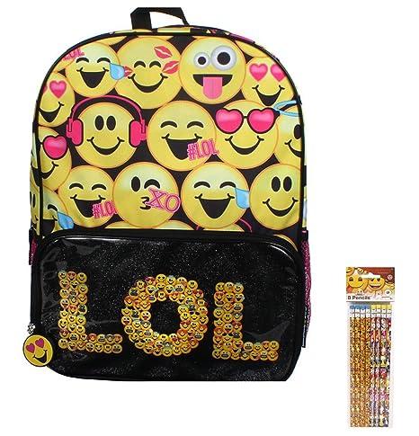Niñas Emoji Kids – Set de mochila escolar grande LOL Mochila y lápices de 8 unidades