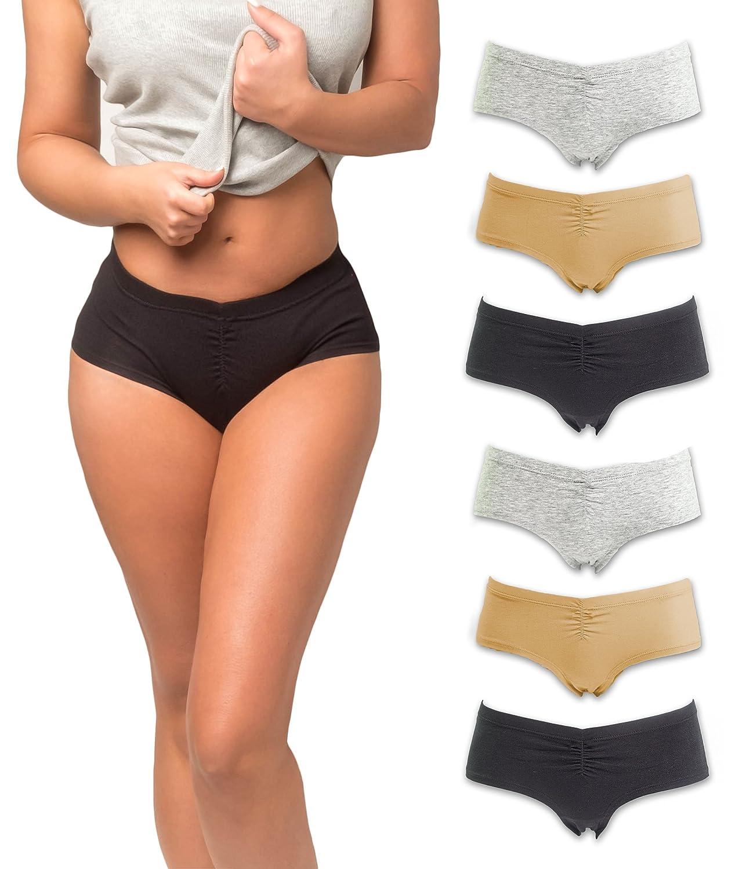 382467defe3 Emprella Boy Shorts Underwear for Women, Cotton Ladies Panties, Womens 6 pk  Slip Shorts at Amazon Women's Clothing store: