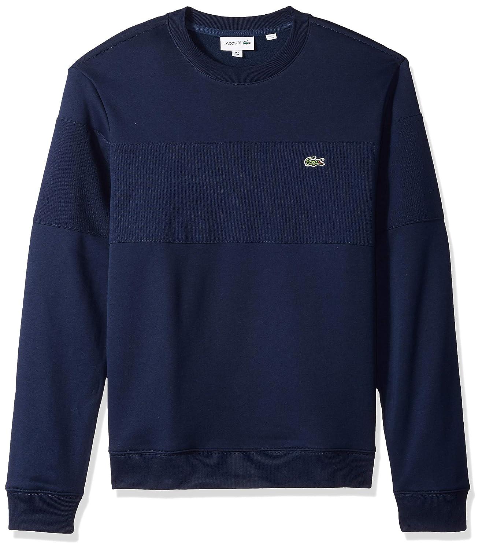53411c1a17 Lacoste Men's Long Cotton Contrast Sleeve Crewneck Sweatshirt