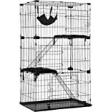 Cat Cage Cat Crate Cat Kennel Cat Playpen with Free Hammock 3 Cat Bed 3 Front Doors 2 Ramp Ladders Perching Shelves,67…