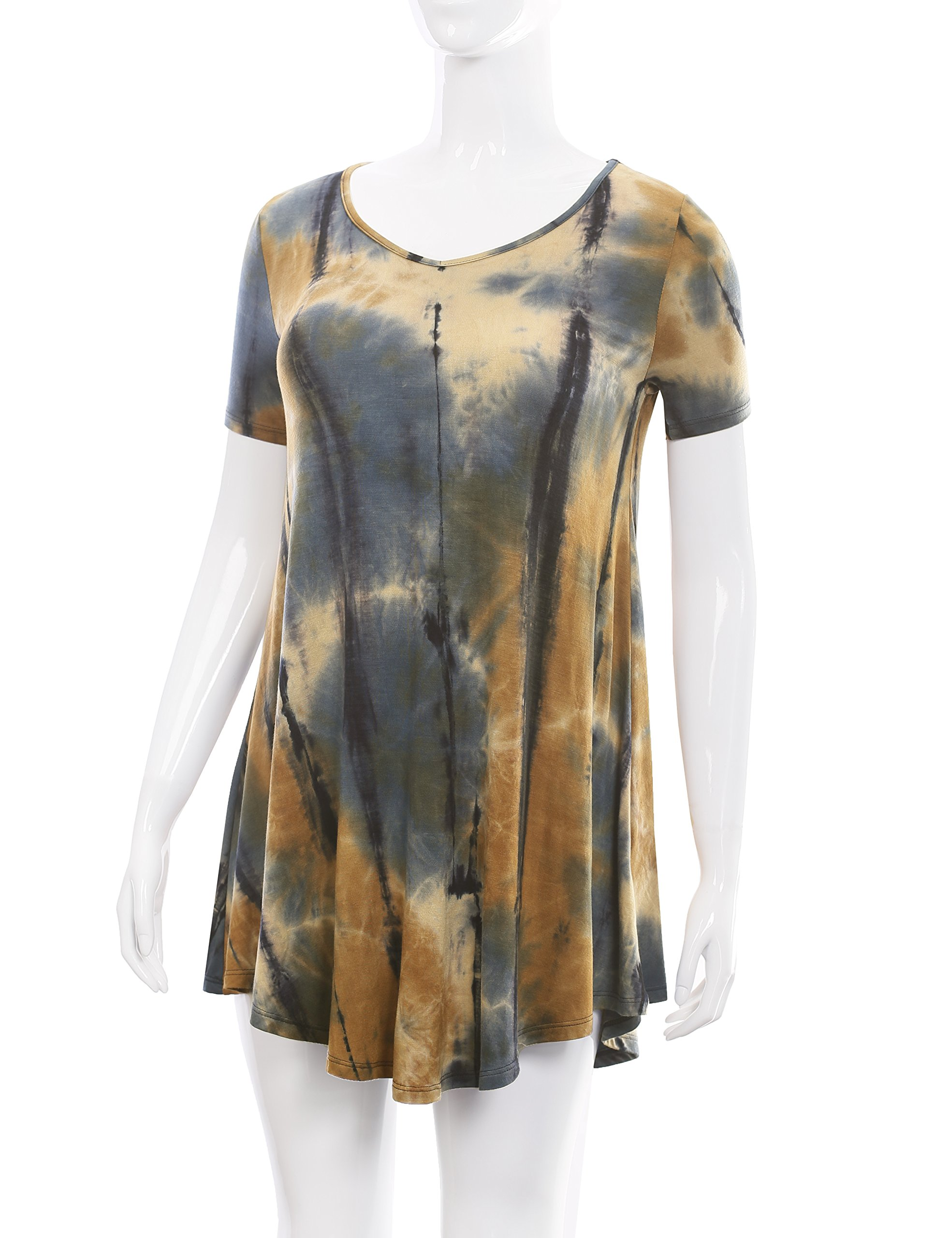 All for You Women's Short Sleeve V-Neck Flare Hem Floral Print Tunic Tie-Dye Taupe 2 X-Large by A.F.Y (Image #4)