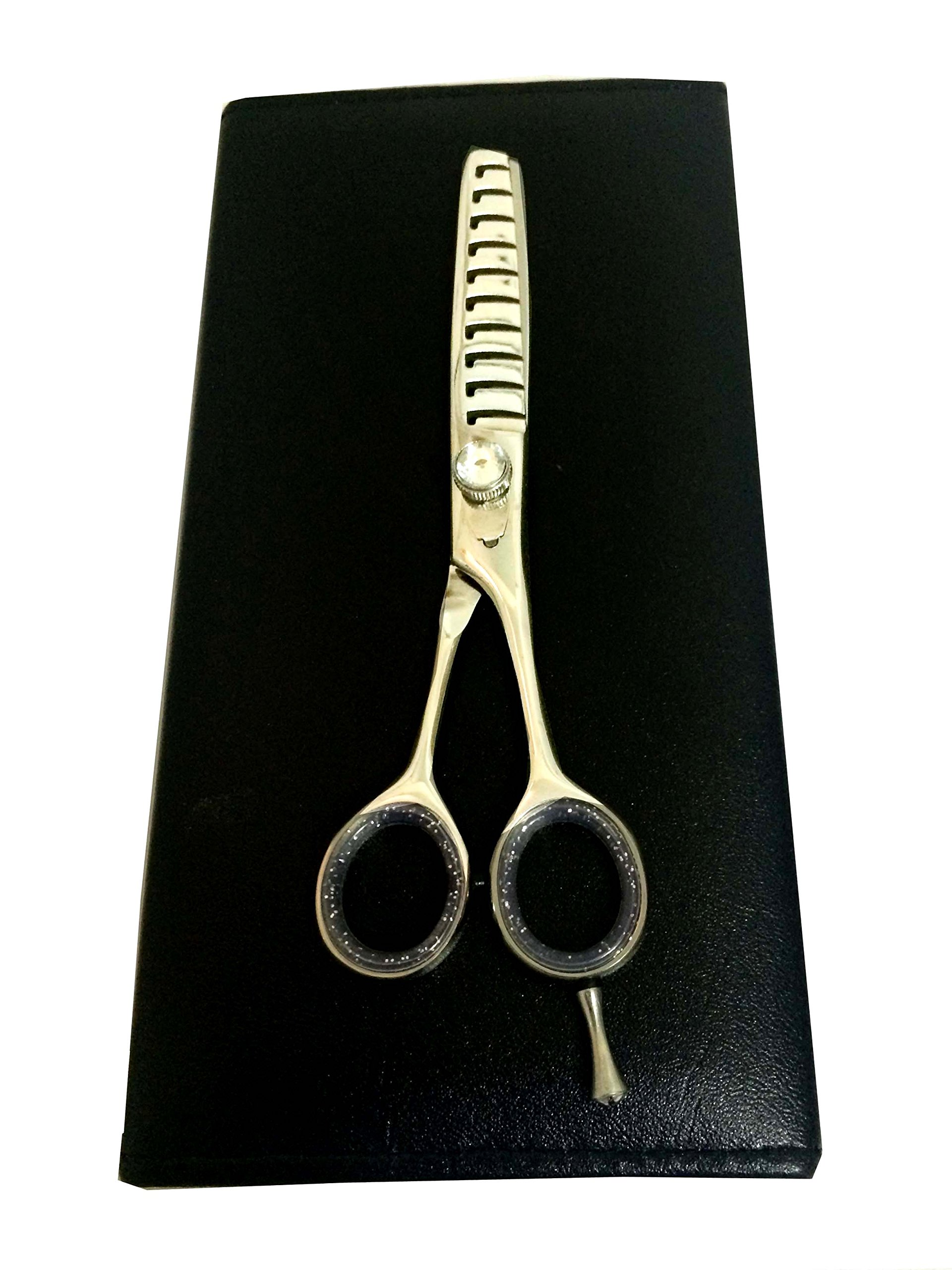 ZZZRT New Polish J2 10-teeth Japanese Steel Professional Razor Edge Barber Thinning, blending, layering and texturizing Scissor/ Shear 6'' + Free Pouch