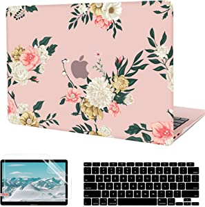 MacBook Air 13 inch Case 2020 2019 2018 Release A2179 A1932, G JGOO Matte Clear Floral Hard Shell Case with Keyboard Cover & Screen Protector for Apple Mac Air 13.3 with Retina Display & Touch ID