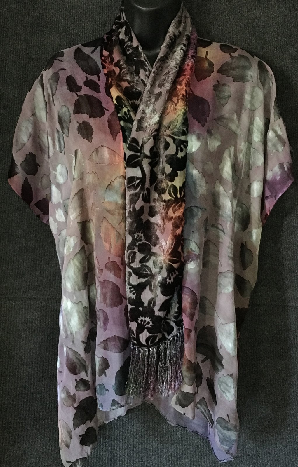 Hand Dyed Silk Scarf Jacket in Silvery Grey Color Mix with Cut Velvet Collar