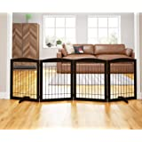 PAWLAND 96-inch Extra Wide Dog gate for The House, Doorway, Stairs, Freestanding Foldable Wire Pet Gate, Set of Support…