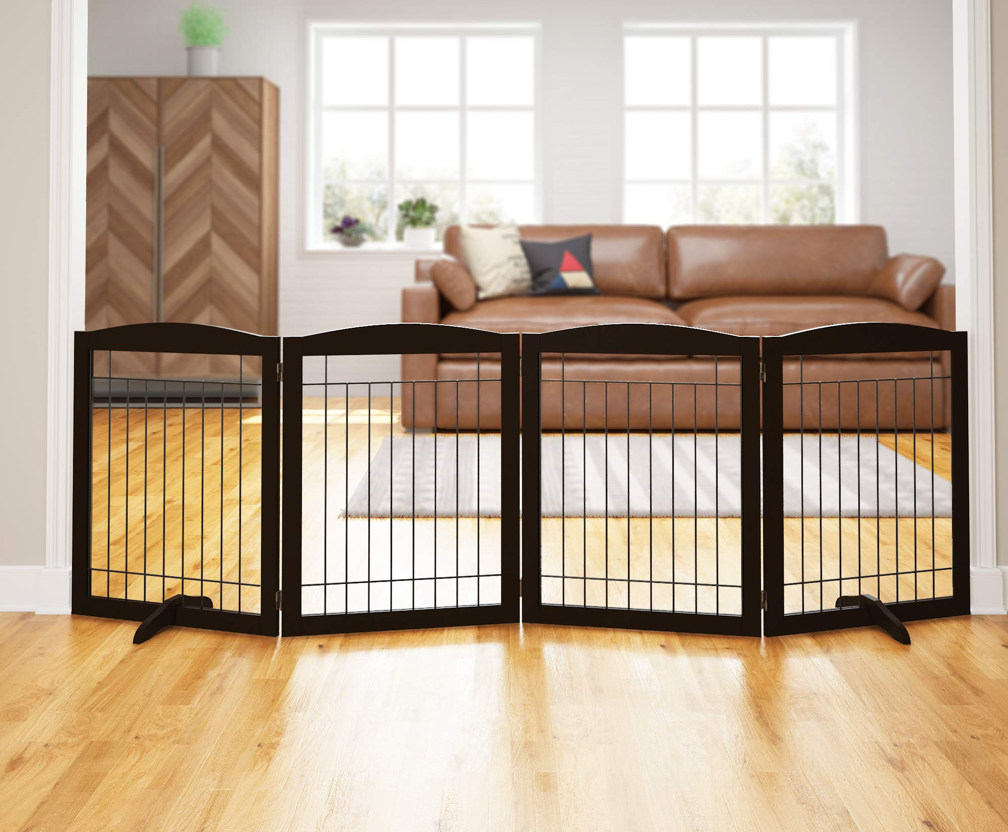 PAWLAND 96-inch Extra Wide Dog gate for The House, Doorway, Stairs, Freestanding Foldable Wire Pet Gate, Pet Puppy Safety Fence   Set of Support Feet Included (Espresso, 30'' Height-4 Panels)
