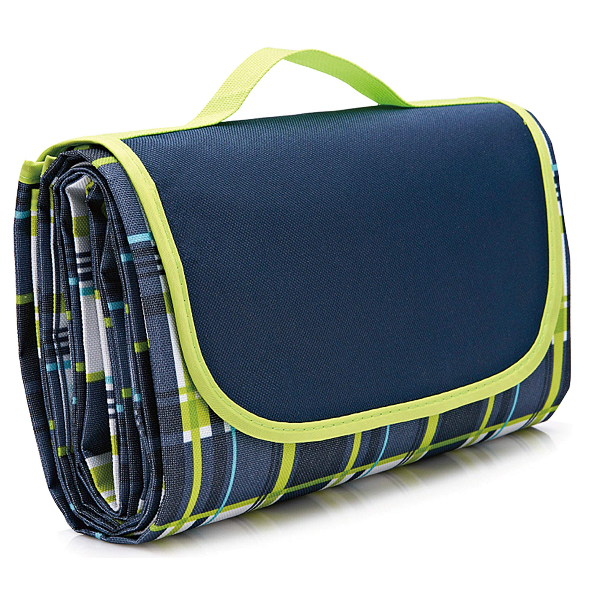 NaturalRays Extra Large Picnic & Outdoor Blanket for Water-Resistant Handy Mat Tote Great for Outdoor Beach, Hiking Camping on Grass Waterproof Sand Proof (Green and Blue Striped)