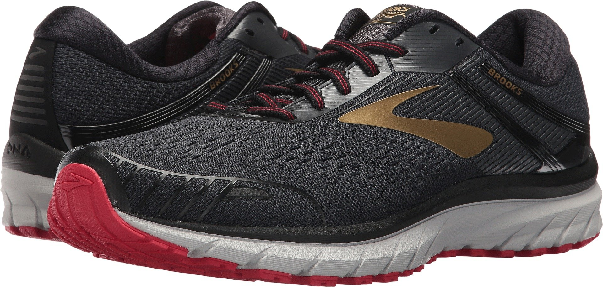 1572cff578e Galleon - Brooks Men s Adrenaline GTS 18 Black Gold Red 9.5 D US