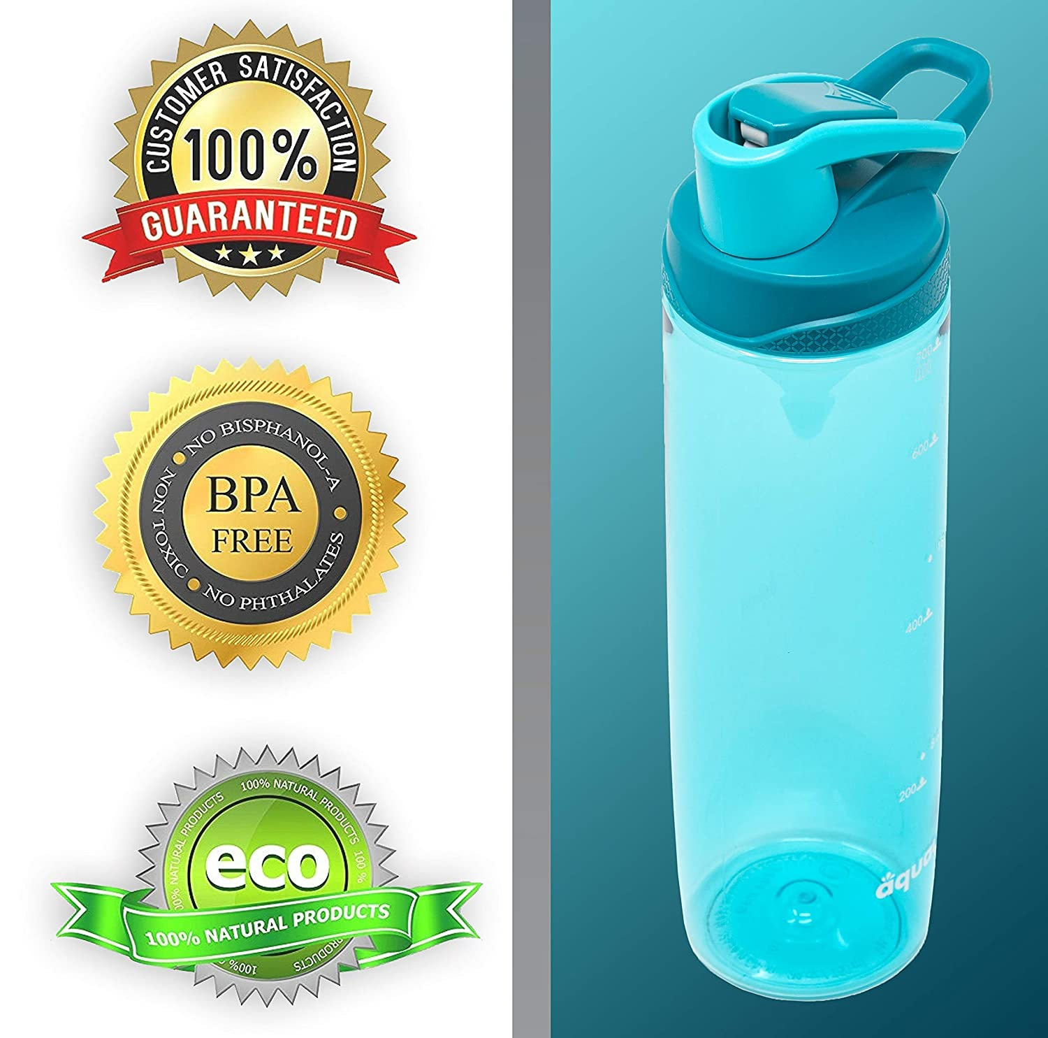 Protein Shaker Aquaa Life Tritan 24oz Non-Toxic BPA-Free Wide Mouth Leak-Proof and Spill-Proof Sports Water Bottle Flip Top Outdoors for Gym Yoga Shaker Bottle Camping Easy to Clean