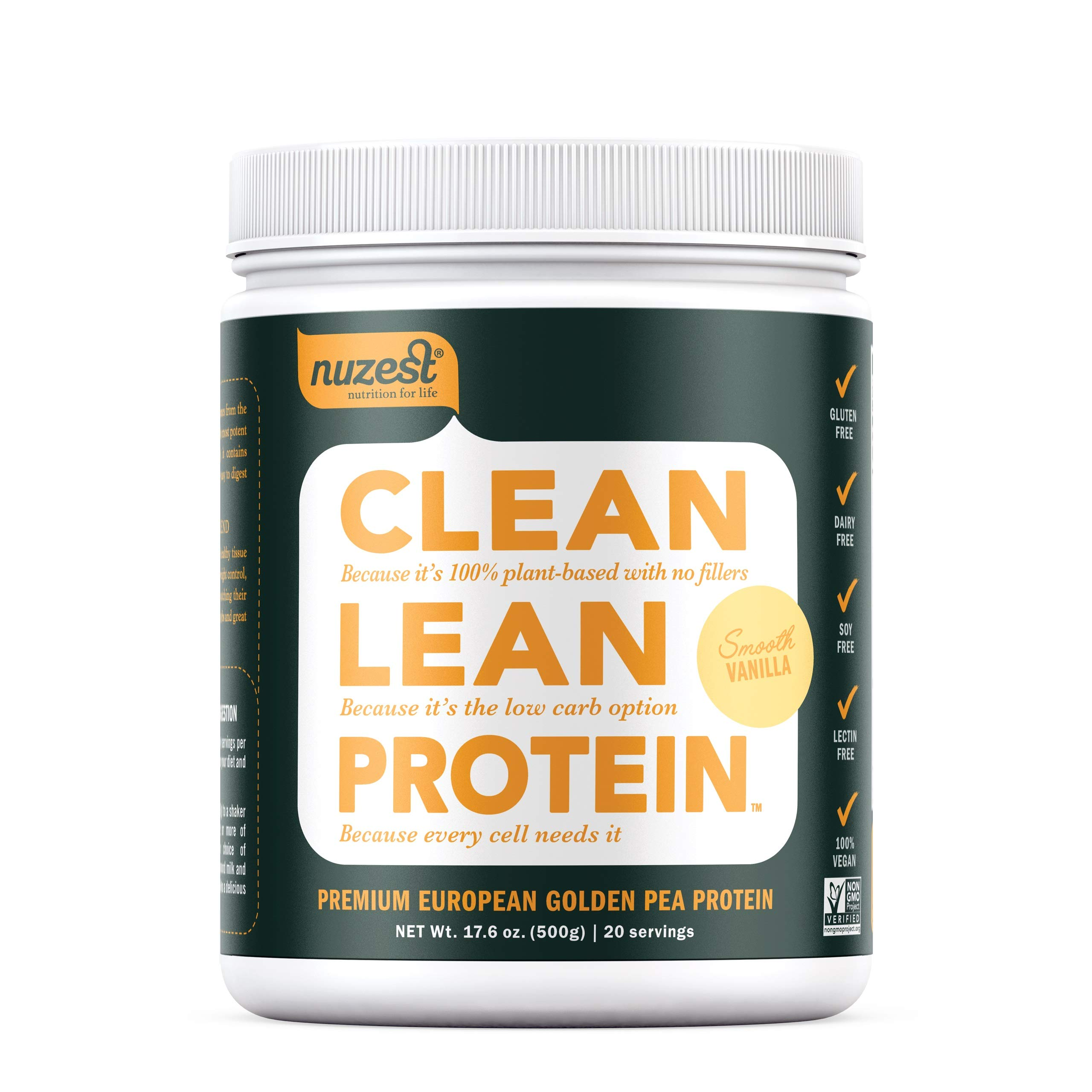Nuzest Clean Lean Protein - Premium Vegan Protein Powder, Plant Protein Powder, European Golden Pea Protein, Dairy Free, Gluten Free, GMO Free, Naturally Sweetened, Smooth Vanilla, 20 Servings, 1.1 lb by NuZest