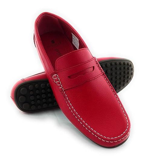 Zerimar Mocasin de Piel Para Hombre Zapatos Hombre Mocasines Calzado Hombre Vestir Color Rojo Talla 40: Amazon.es: Zapatos y complementos