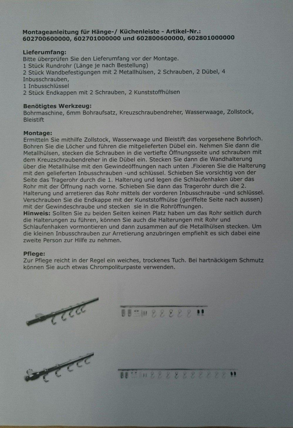 Hängeleiste / Küchenleiste zur Wandbefestigung 100cm, mit 10 Haken ...