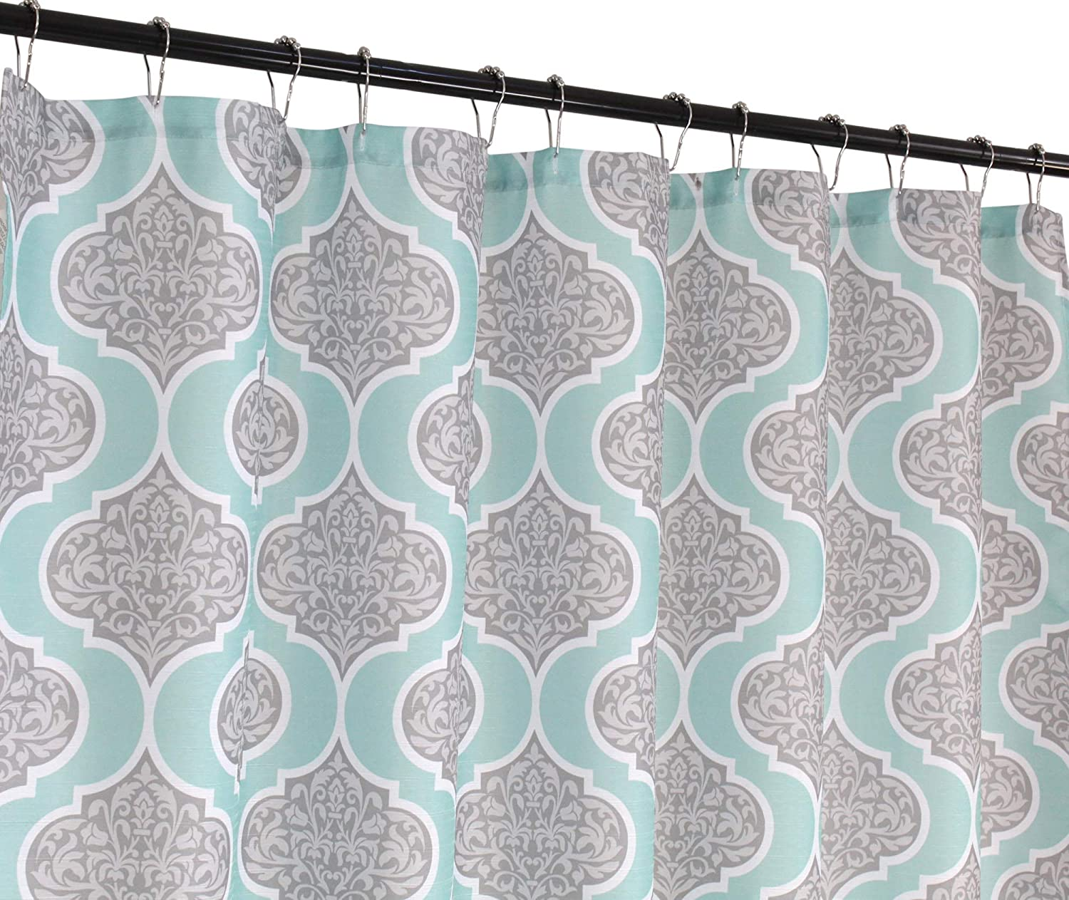 CHD Home Damask Fabric Shower Curtain: Grey Floral Medallion with Turquoise Border (Sonia)