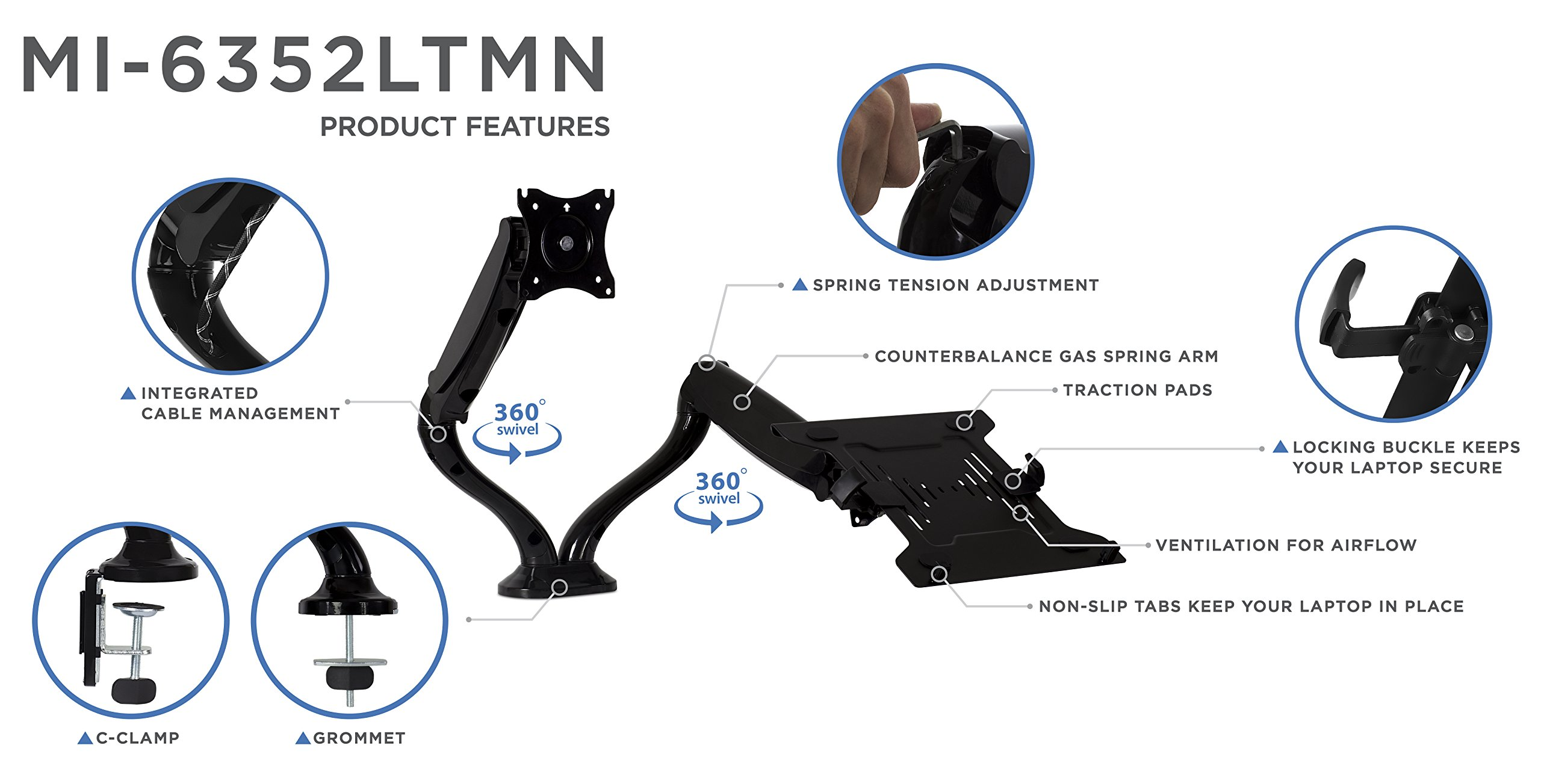 Mount-It! Laptop Desk Stand and Monitor Mount, Full Motion Monitor and Laptop Arm, Fits up to 15.6 Inch Notebooks, VESA 75, 100 Compatible with 22, 23, 24, 27, 32 inch Screens, 13.2 Lbs Per Arm by Mount-It! (Image #4)