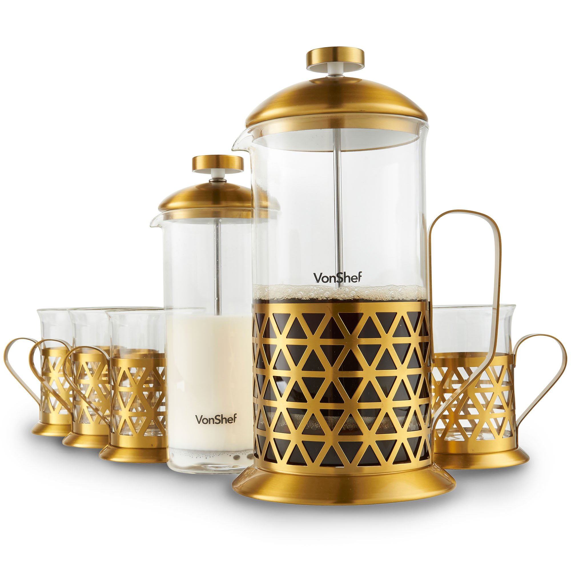 VonShef French Press Coffee Cafetiere Set with Milk Frother and 4 Serving Cups, Stainless Steel, Glass and Gold, 34 Fluid Ounces, 8 Cup Capacity by VonShef