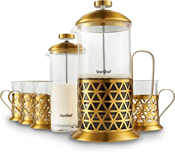 VonShef French Press Coffee Cafetiere Set with Milk Frother and 4 Serving Cups, Stainless Steel, Glass and Gold, 34 Fluid Ounces, 8 Cup Capacity
