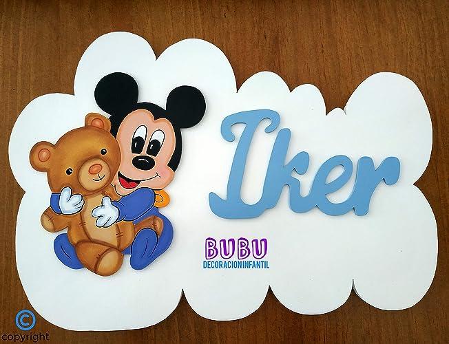 Placas infantiles Mickey o Minnie personalizadas con nombre ...