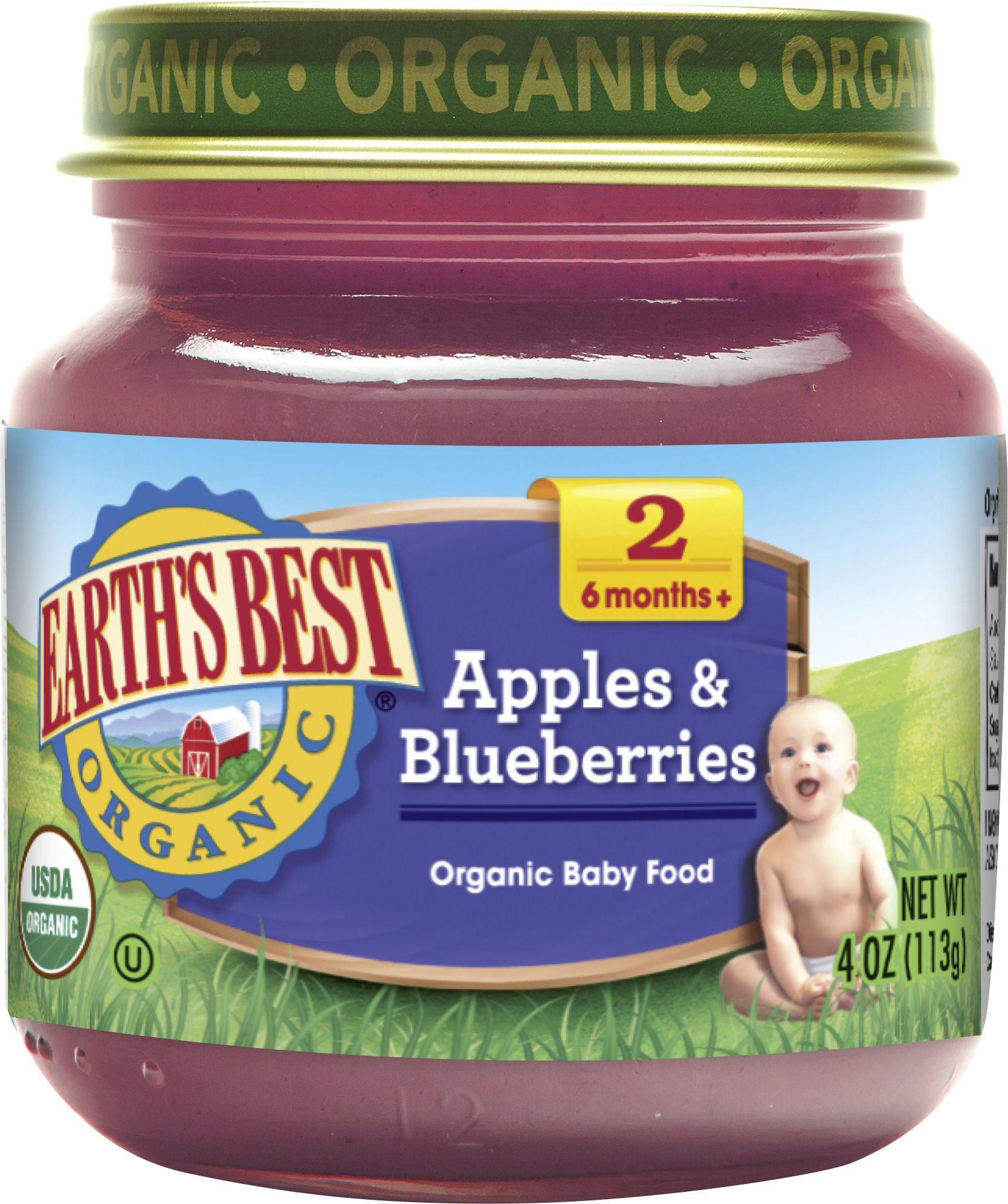 Earth's Best, Apples and Blueberry, 4 oz by Earth's Best